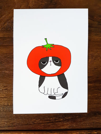 Grumpy Tomato Cat Postcard Postcards Steak & Eggs Please