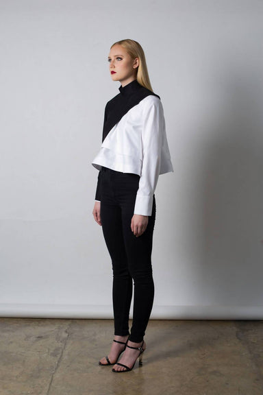 Half Body Top with Stand Collar - Tops - Silvia Teh - Naiise