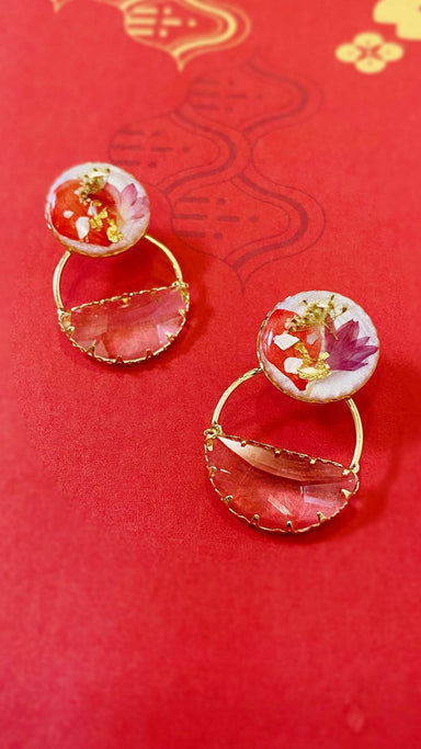 Half half Resin Studs Semi Circle Rhinestone Drop - Red 2 Earrings Blaack Fox
