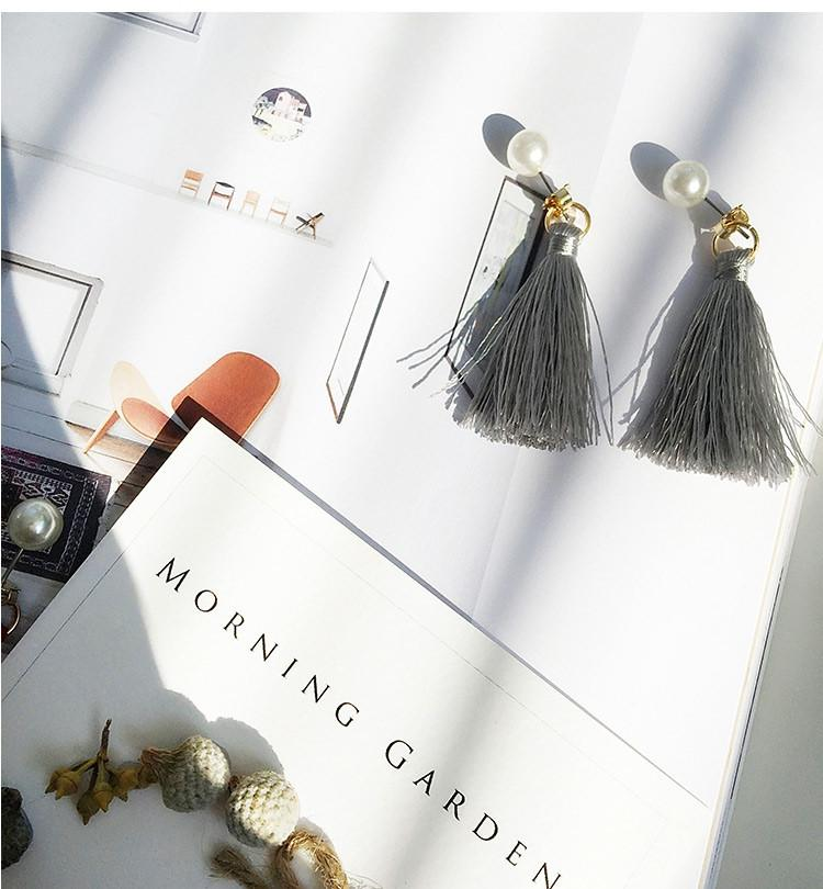 Handmade Pearl Grey Tassel Earrings - Earrings - Bacteria Secret - Naiise