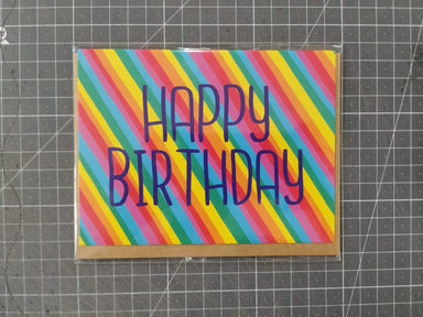 Happy Birthday and Stripes Card Birthday Cards Fevrier Designs