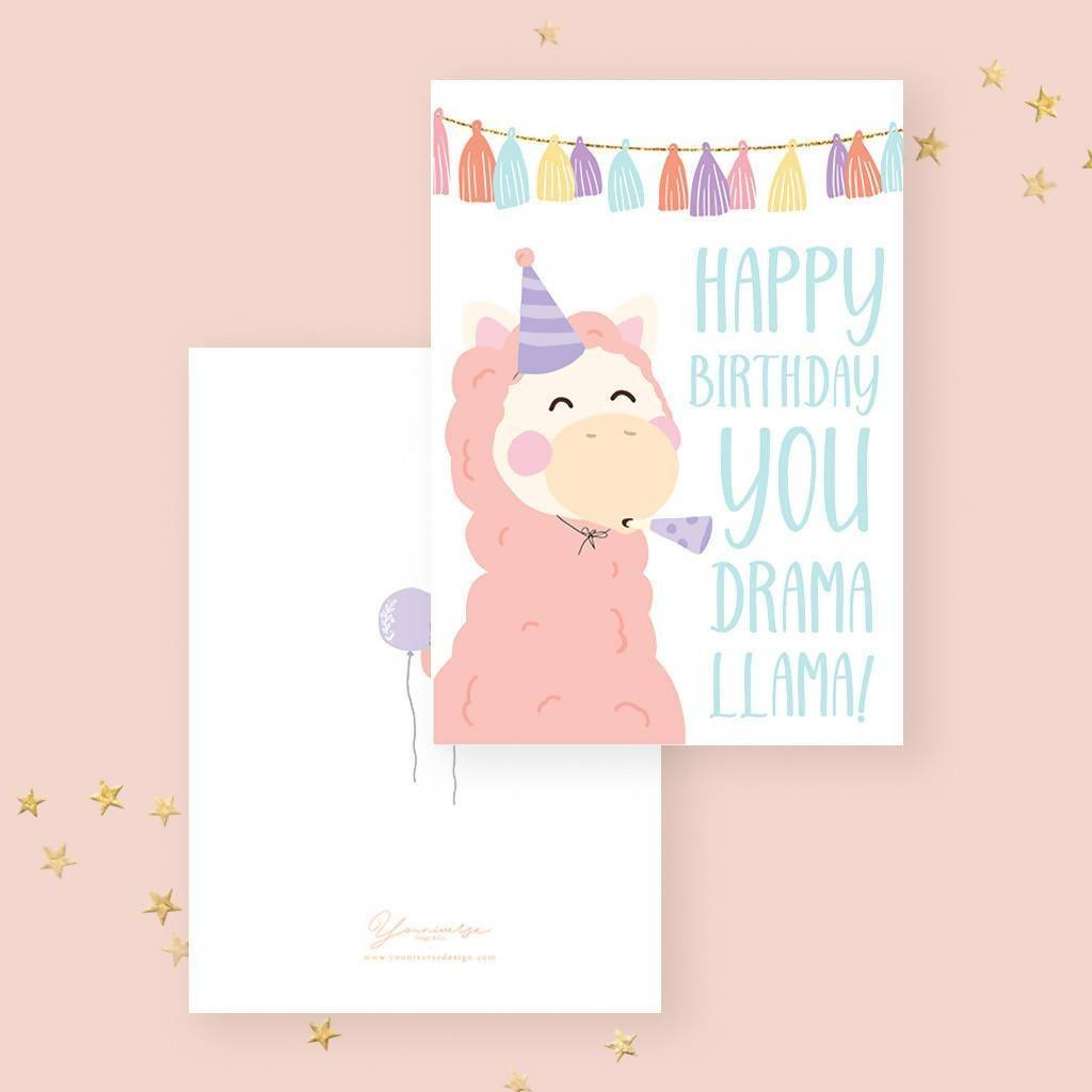 Happy Birthday(Party Llama) Card Birthday Cards YOUNIVERSE DESIGN