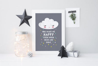 Happy Cloud Print Kids Prints Poppetry