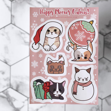 Happy Meowy Catmas sticker sheet Local Stickers The Cat Carousel