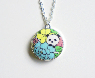 Haruki Panda Handmade Fabric Button Necklace - Necklaces - Paperdaise Accessories - Naiise