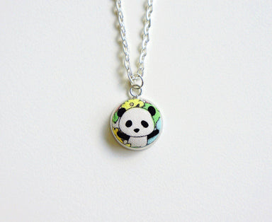 Haruki Panda SM Handmade Fabric Button Necklace - Necklaces - Paperdaise Accessories - Naiise