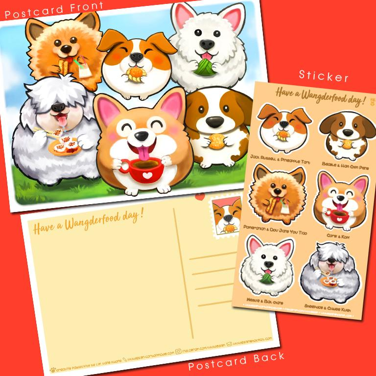 """Have a WangDerFood Day"" Dog Postcard & Sticker Pack - Local Postcards - Lim Hang Kwong - Naiise"