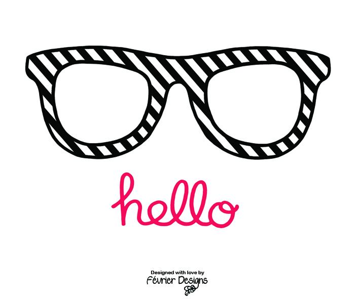 Hello Glasses Card Generic Greeting Cards Fevrier Designs