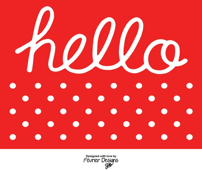 Hello Polka Card Generic Greeting Cards Fevrier Designs