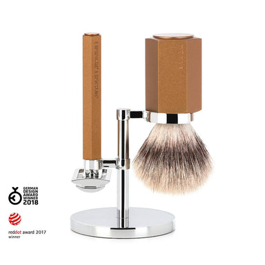 Hexagon shaving set, bronze with safety razor - Shaving Set - MÜHLE Singapore - Naiise