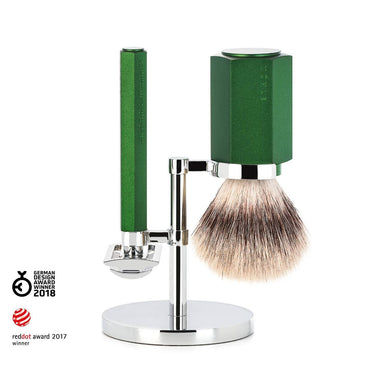 Hexagon shaving set, forest green with safety razor - Shaving Set - MÜHLE Singapore - Naiise