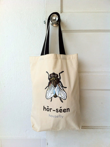 """Hor-Seen"" Housefly Tote Bag - Local Tote Bags - Sibeynostalgic - Naiise"