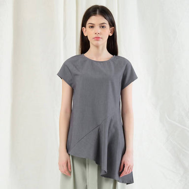 Horus Asymmetric Top - Shadow - Women's Tops - Salient Label - Naiise