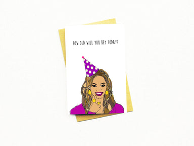 How Old Will You Bey Today? Greeting Card Birthday Cards Nocturnal Paper