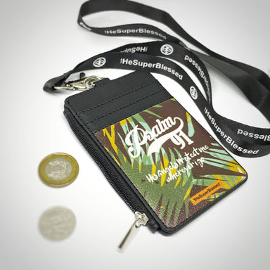 Psalm 91 Foliage Black Zipped Cardholder Coin Pouch Lanyard Set - Wallets - The Super Blessed - Naiise