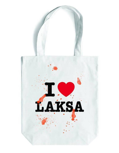 I LOVE LAKSA Canvas Bag - Local Tote Bags - LOVE SG - Naiise