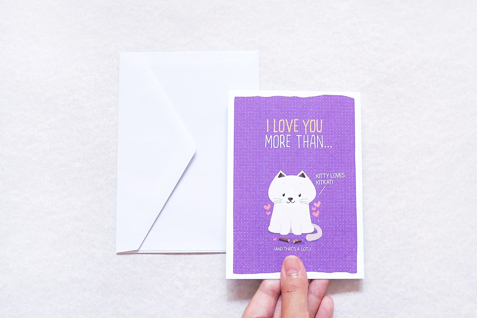 I love you more than kitty loves kit kat - Love Cards - TispyTopsy - Naiise