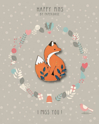 I Miss You Autumn Fox Enamel Pin - Pins - Paperdaise Accessories - Naiise