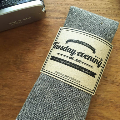Necktie - Grey Stripe Stitched - Ties - Tuesday Evening - Naiise