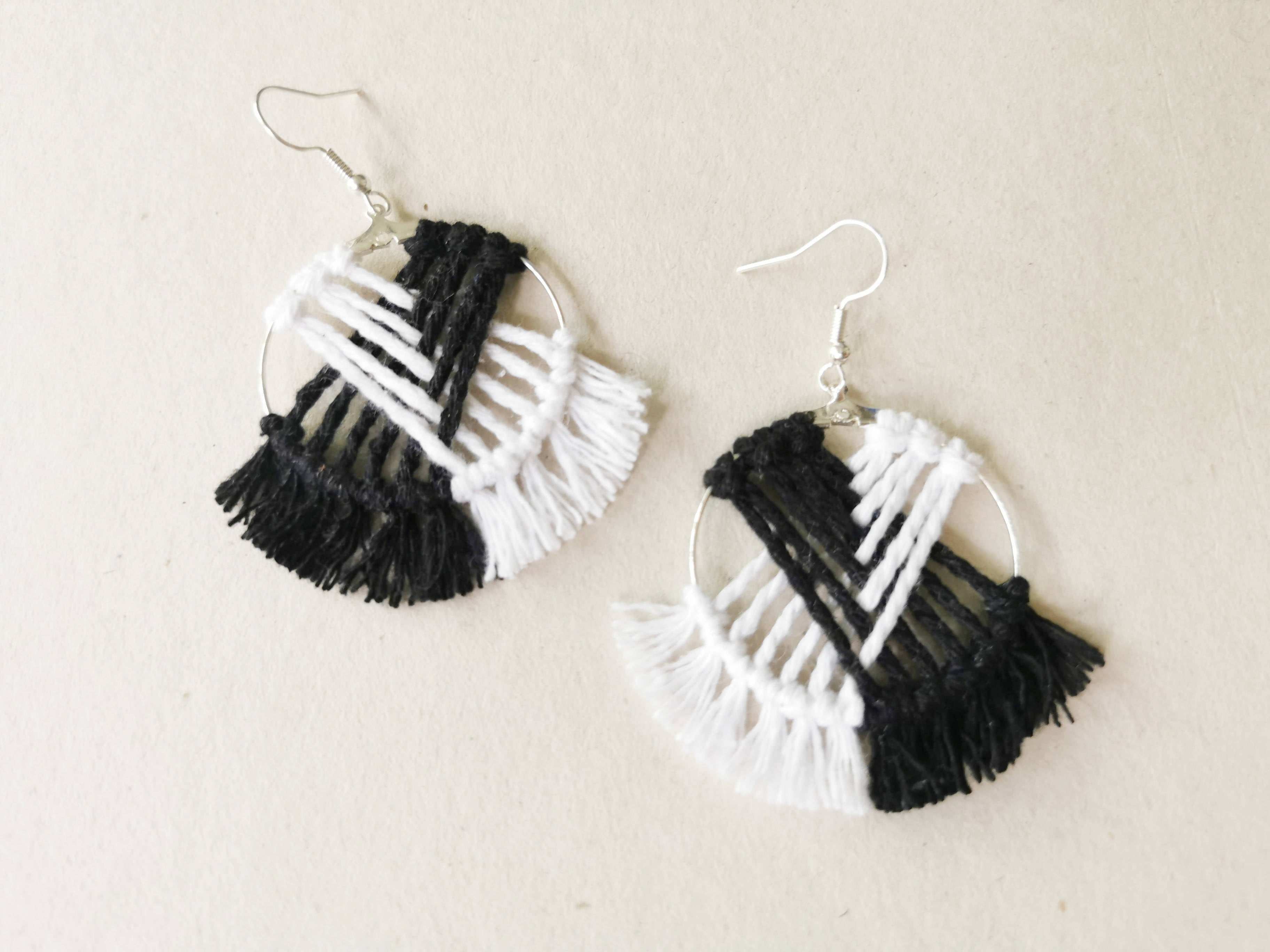 Intersect Macrame Hoop Earrings - Monochrome - Earrings - Playtime Rebs Studio - Naiise