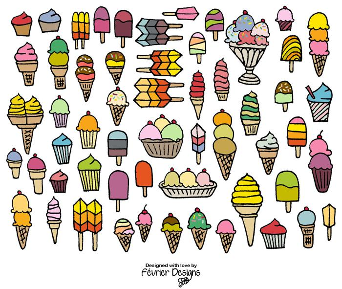 Ice Cream Card Generic Greeting Cards Fevrier Designs