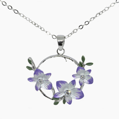 Laelie- 2 Tone Orchid Pendant Set in Rhodium Plating - Pendants - Forest Jewelry - Naiise