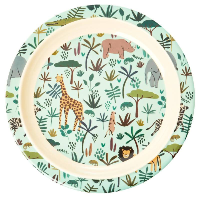 Melamine Kids Lunch Plate in Green with All Over - Kitchenware - The Children's Showcase - Naiise