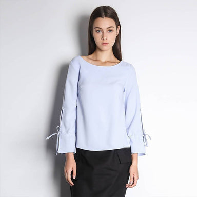 Iko Long Sleeved Blouse in Powder Blue Women's Tops Salient Label