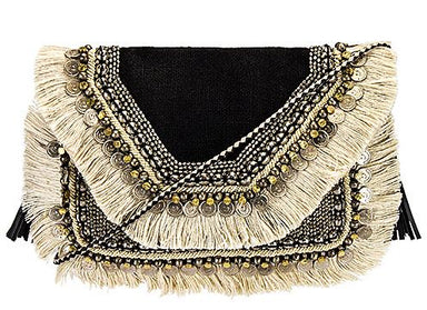 Indian Inspired Crossed Mid Bag Clutches Irregular Lines Black