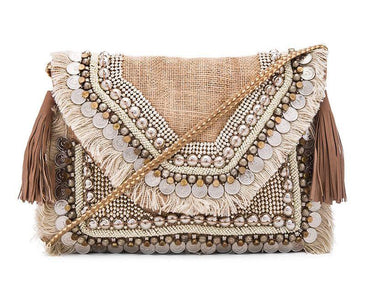 Indian Inspired Crossed Mid Bag Clutches Irregular Lines Natural