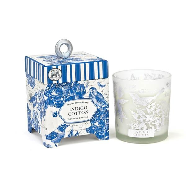 Indigo Cotton Soy Wax Candle Scented Candles Michel Design Works 6.5oz
