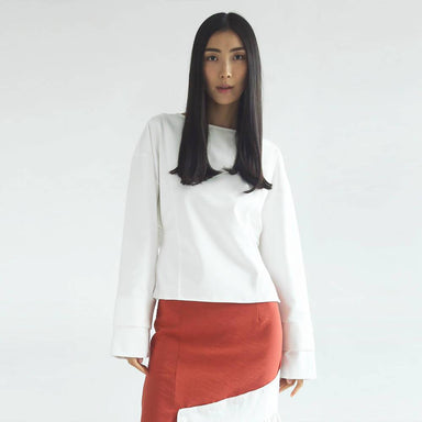 Ingrid Oversized Cropped Top - Cotton Stretch White Tops Salient Label