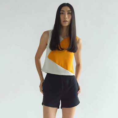 Irma Contrast Colour Top in Band of Gold Women's Tops Salient Label