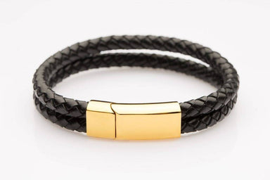 J. By Jee Bi-braided Leather Gold Clasp (JEM-315002-BLK) Men's Bracelets J By Jee