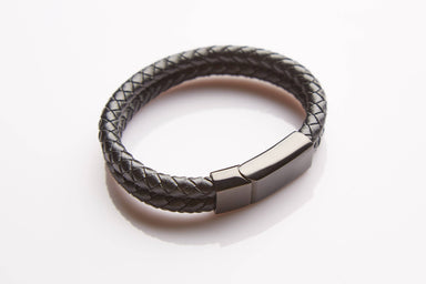J. By Jee Bi-braided Leather Onyx Clasp (JBJ-20190001-LTRBLK) Men's Bracelets J By Jee