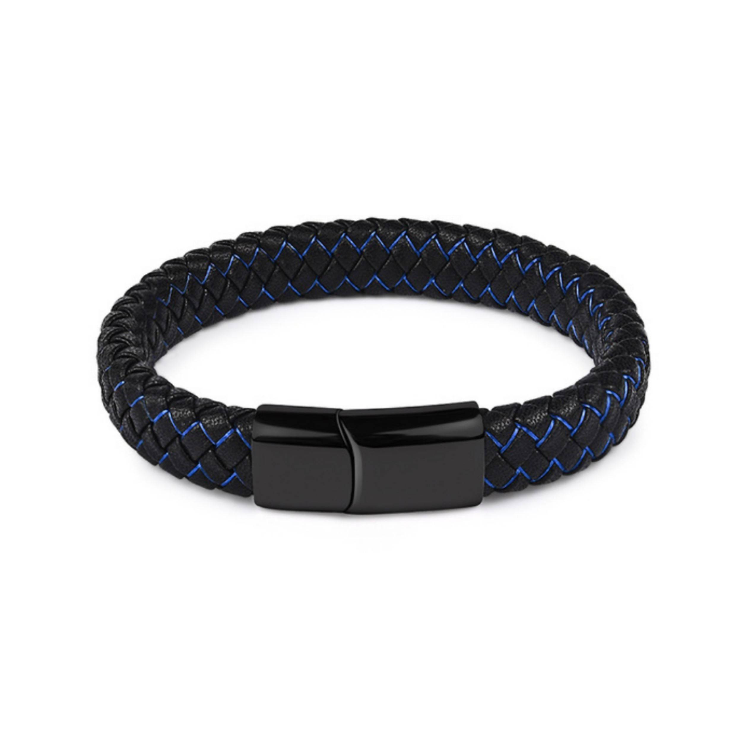 J. By Jee Black & Blue Bi-braided Leather Black Clasp Bracelet - Men's Bracelets - J By Jee - Naiise