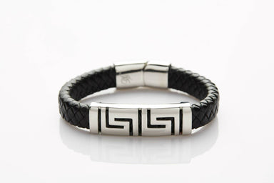 J. By Jee Black Leather Asian Geometric Steel Band (JEM-316020-BLK) Men's Bracelets J By Jee