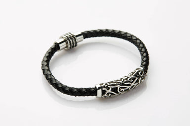 J. By Jee Black Leather Celtic-inspired Carvings (JEM-316021-BLK) Men's Bracelets J By Jee