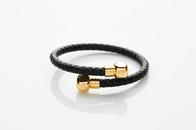 J. By Jee Black Leather Gold Bolt (JEM-316022-BLK) Men's Bracelets J By Jee