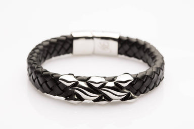 J. By Jee Black Leather Grooved-metal Silver Clasp (JEM-315014-BLK) Men's Bracelets J By Jee