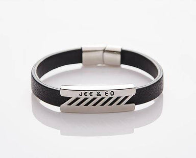 J. By Jee Black Leather Razor Steel Band (JEM-316024-BLK) Men's Bracelets J By Jee