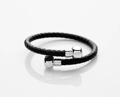 J. By Jee Black Leather Silver Bolt (JEM-316023-BLK) Men's Bracelets J By Jee