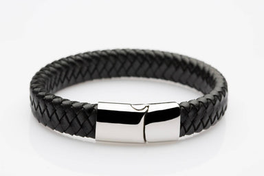 J. By Jee Black Leather Silver Clasp (JEM-315010-BLK) Men's Bracelets J By Jee