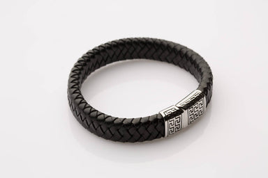 J. By Jee Black Leather Tribal Clasp (JEM-315008-BLK) Men's Bracelets J By Jee