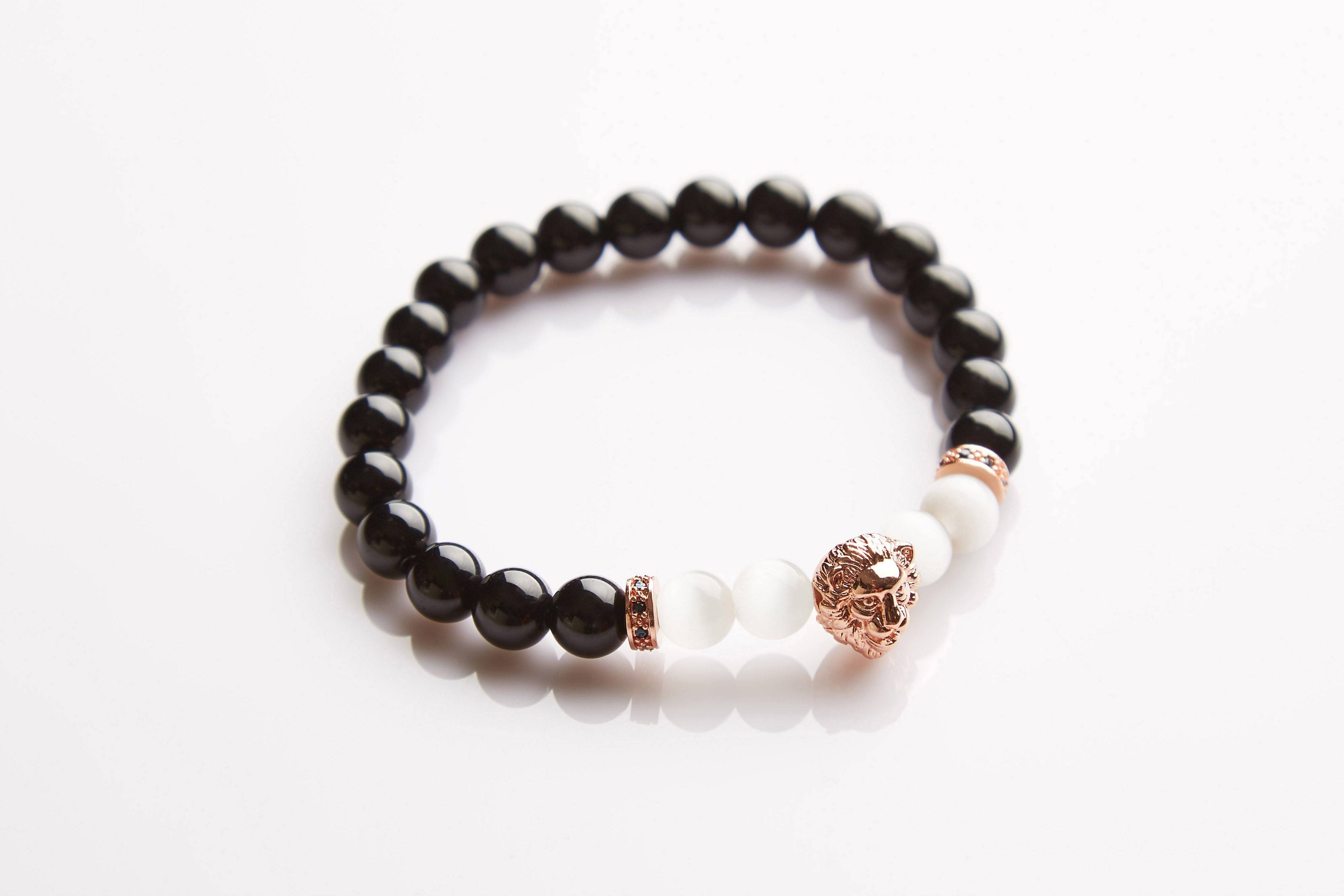 J. By Jee Rose Gold Lion Head Beads Bracelet - Men's Bracelets - J By Jee - Naiise