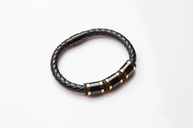 J. By Jee Triplet Black Gold Steel Leather Bracelet - Men's Bracelets - J By Jee - Naiise