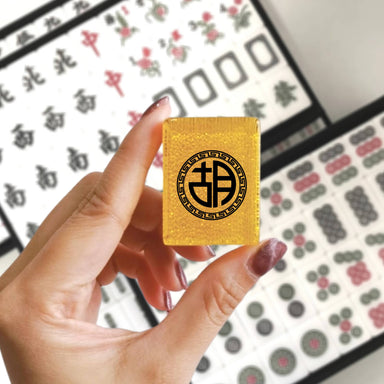 Customised Surname Mahjong Tiles (Gold Glitter) Personalised Mahjong Customy Mahjong
