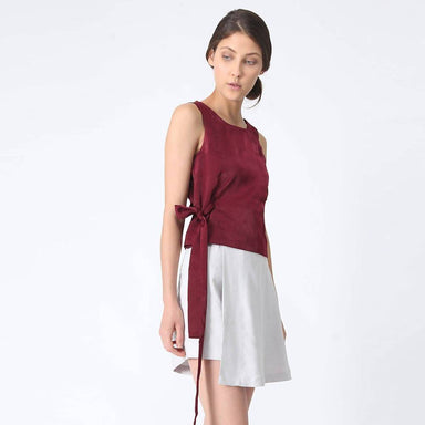 Jean Fold Back Top With Sash in Carmine Women's Tops Salient Label
