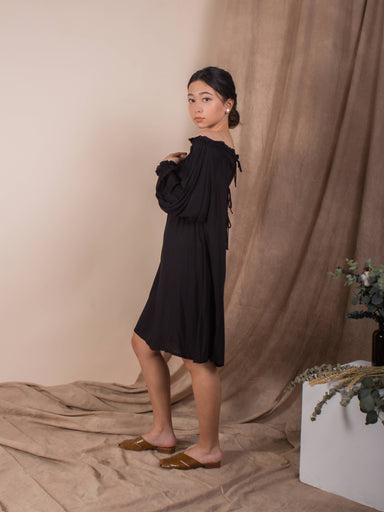 Jet Black Cold Shoulder Kaftan - Dresses - Whispers & Anarchy - Naiise