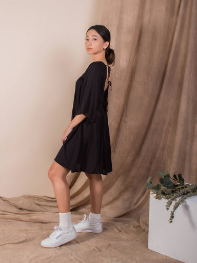 Jet Black Exposed Back Bell Sleeve Dress - Dresses - Whispers & Anarchy - Naiise